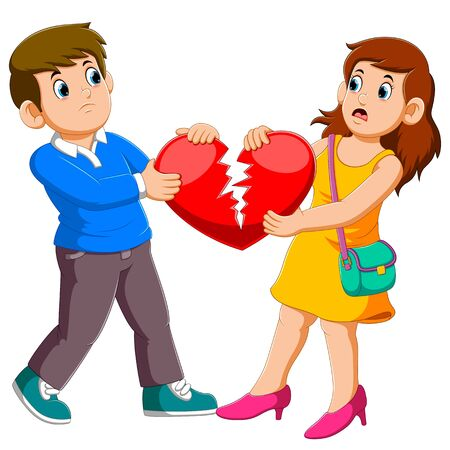 Angry couple holding broken heart of illustration