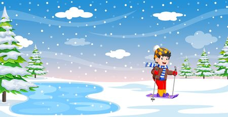 Male skier in the winter holiday of illustration
