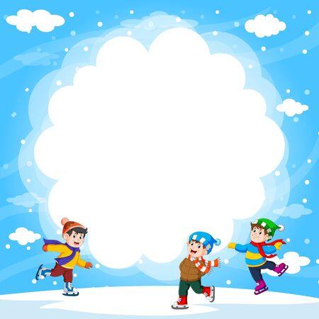 Happy boys outside playing ice-skates of illustration