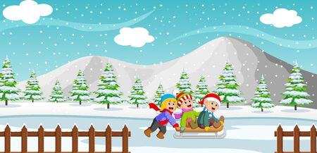 Happy Kids playing a sleigh ride in winter with mountain background of illustration Illustration