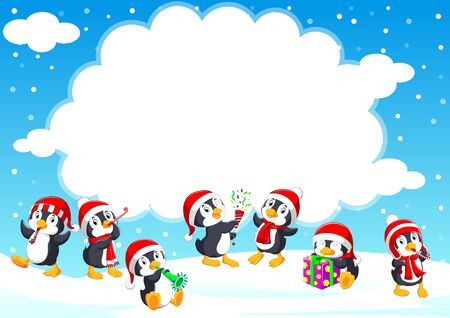 Funny little penguin in a red knitted Nordic hat in winter season of illustration