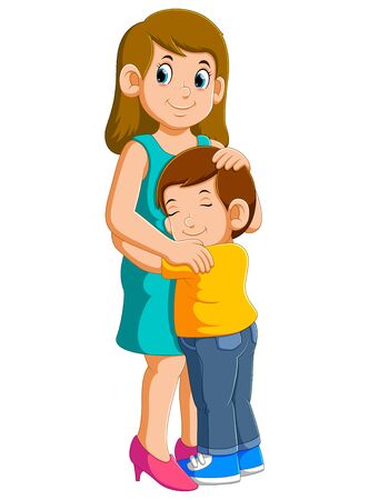 Young mother and her charming little son are hugging and smiling of illustration Stock fotó