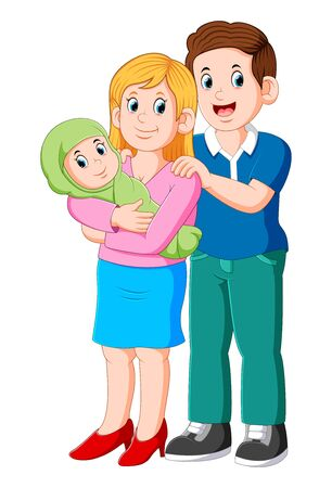 Beautiful young parents and cute baby of illustration
