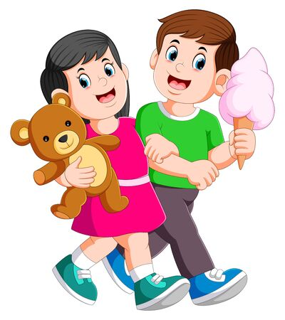 Young couple spend romantic while lady holds teddy bear in hands of illustration
