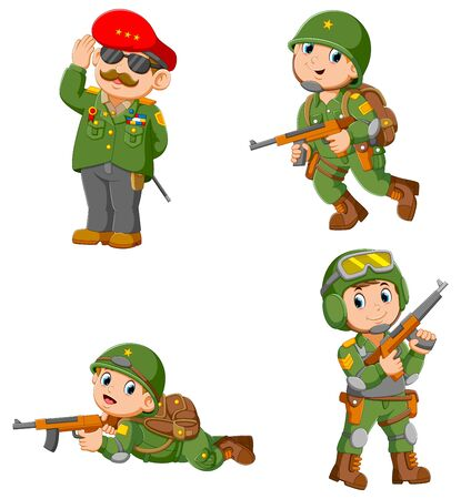 Collection of Soldier holding assault rifle of illustration Reklamní fotografie