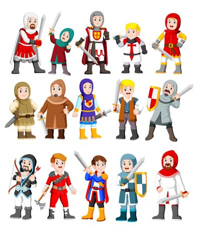 Collection of cute cartoon medieval knight characters of illustration Stock Photo