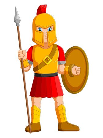 Ancient warrior or Gladiator posing and holding spear of illustration