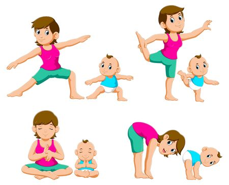 Collection of Young mothers and their babies doing yoga exercises of illustration