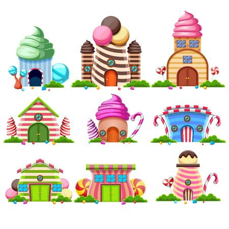 set collection of fantasy sweet house of cakes and decorated with candy of illustration