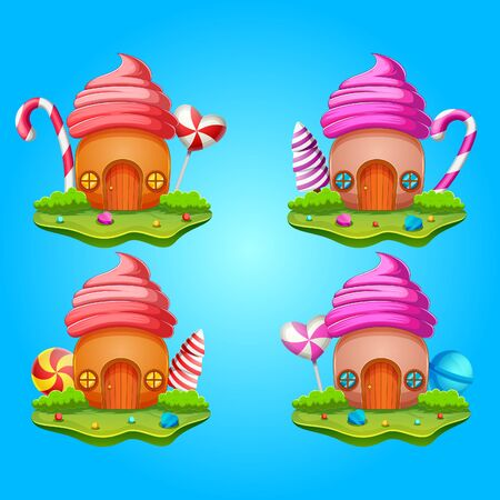 Collection sweet house with of candy of illustration Иллюстрация