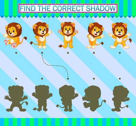 Find the correct shadow. Cartoon cute lion of illustration