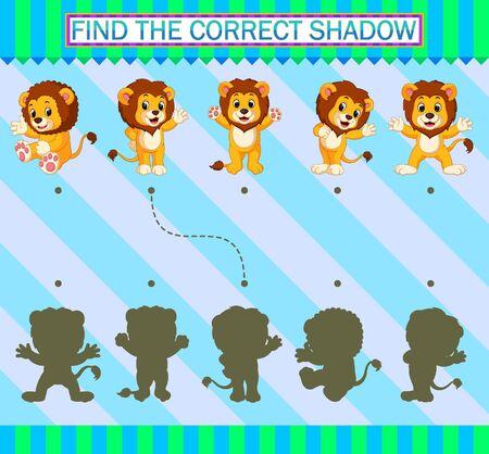 Trouvez la bonne ombre. Dessin animé mignon lion d'illustration