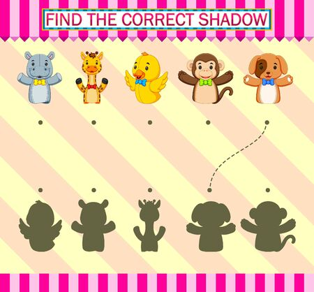 Find the correct shadow. Different fingers puppet of illustration Vettoriali