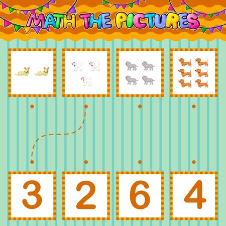 Counting educational children game. Match the pictures of illustration