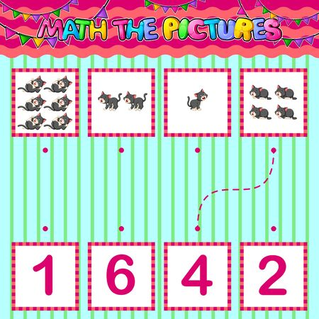 Counting educational children game. Match the pictures of illustration Ilustracje wektorowe