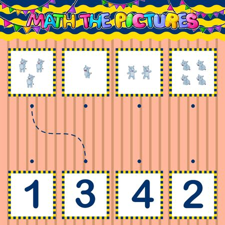 Counting educational children game. Match the pictures of illustration Фото со стока - 139821956