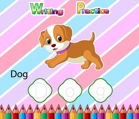 Worksheet Writing practice alphabet D for Dog of illustration Vecteurs
