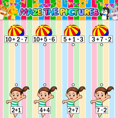 Worksheet with exercises for children on addition and subtraction. Solve counting and connecting to each result