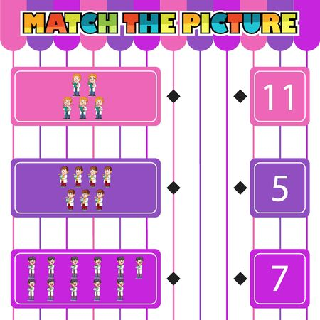 Worksheet for children. Counting and connecting to each result