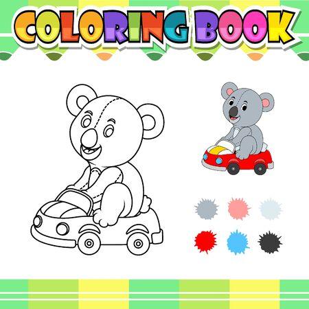 Coloring book koala riding car cartoon of illustration