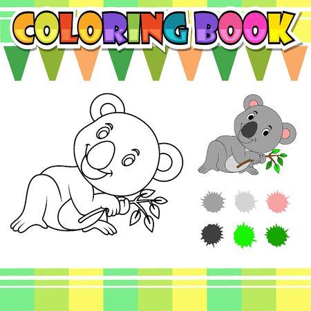 Coloring book cute koala cartoon of illustration Vettoriali