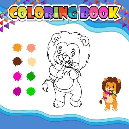 Coloring book lion holding pencil and book of illustration