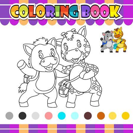 Libro para colorear burro y jirafa de ilustración