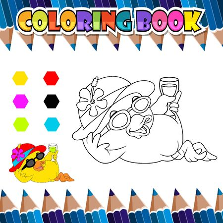 Coloring book relaxing duck cartoon of illustration