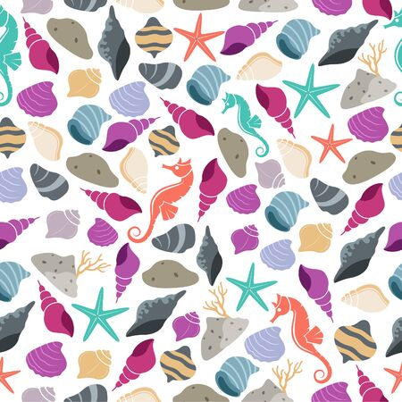 Sea life seamless pattern with sea horse and shell of illustration Vettoriali