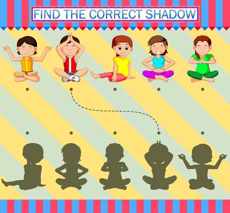 Find the correct shadow. Cartoon woman sporty with yoga of illustration Фото со стока - 139822147