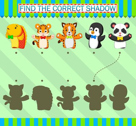 Find the correct shadow. Different kind of animal puppet of illustration Фото со стока - 139822149