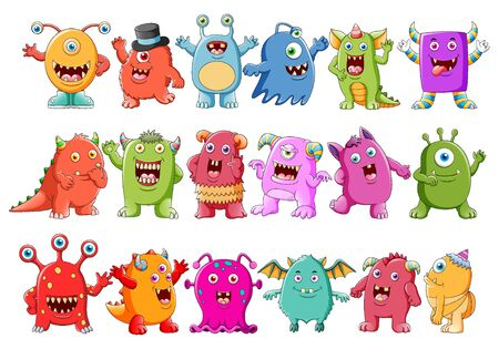Collection of cute character monsters of illustration
