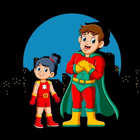 Cartoon Superhero Man and his daughter of illustration Illustration