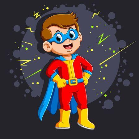 Superhero boy with smile of illustration Illustration