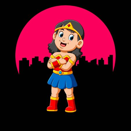 Superhero girl with smile of illustration Illustration