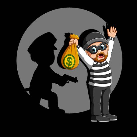 Police officer arrest the robber of illustration
