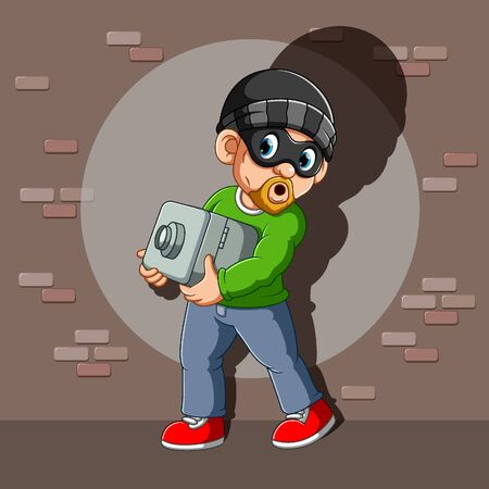 A thief who has stolen safe deposit box in his hands of illustration Illustration