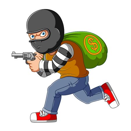 Bank robber running with money bags and gun of illustration