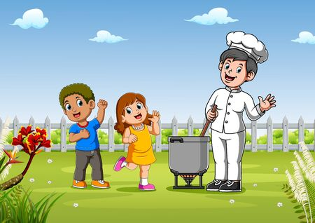 Kids with pretty chef cooking outdoors of illustration Illustration