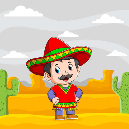 The illustration of mexican men standing in desert use the red sombrero Illusztráció