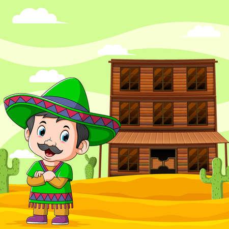 The illustration of mexican boy standing near the wooden bar