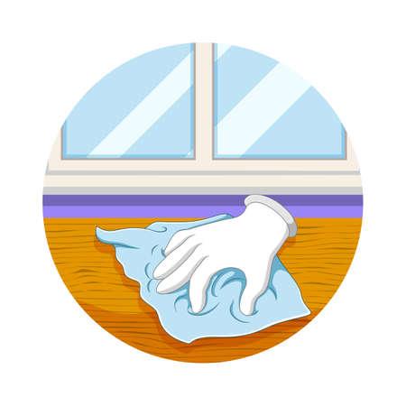 The illustration of the hand cleans the floor with the rag Illusztráció
