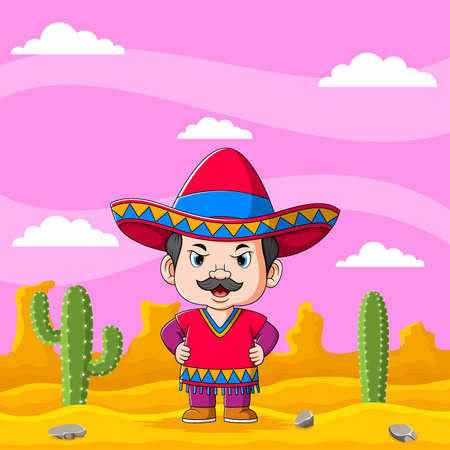 The illustration of the mexican boy in the desert under the beautiful pink sky Stock fotó - 155281519