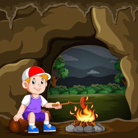 The boy is camping and burning the sausage the bonfire Illusztráció