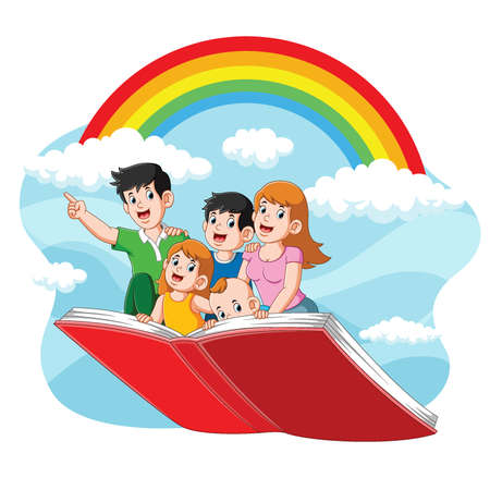 The illustration of cute family flying with their book on the beautiful sky