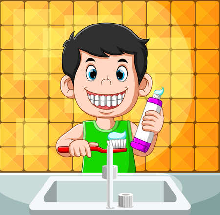 The illustration of boy is smiling and brushing his the with the toothpaste Illusztráció