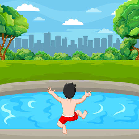 The little boy is going to swim in the pond near the city