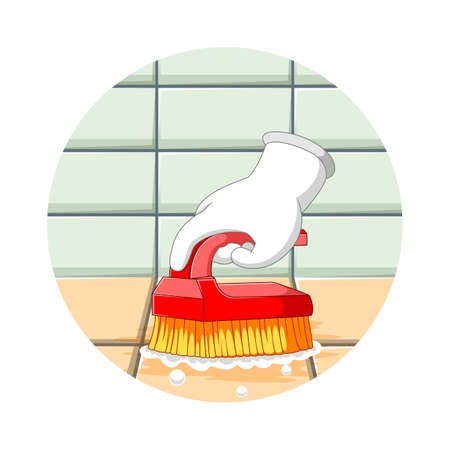 The illustration of the hand clean the toilet floor with the small brush Stock fotó - 155281524