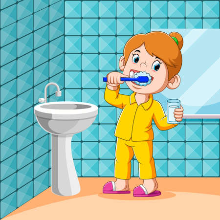 The girl is brushing her teeth in the toilet before sleep