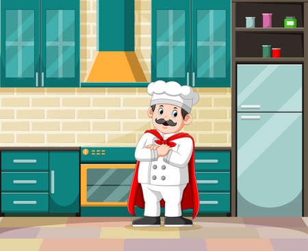 The illustration of the master of cooking with his white costume in the kitchen